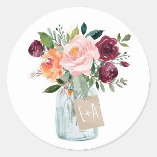 Sticker Rond Pot de maçon floral rose orange de Bourgogne