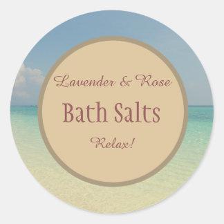 Sticker Rond Pot de maçon rustique de sel de Bath de plage