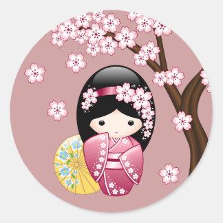 Sticker Rond Poupée de Kokeshi de ressort - geisha japonais