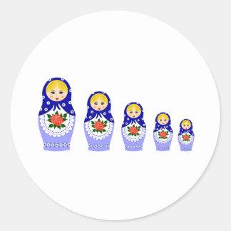 Sticker Rond Poupées de Matryoschka bleues