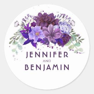 Sticker Rond Pourpre de prune et mariage floral de lavande