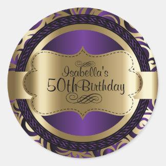 Sticker Rond Pourpre et anniversaire d'abrégé sur remous d'or