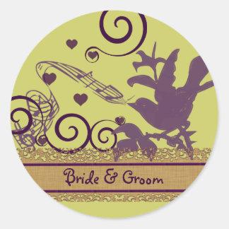 Sticker Rond Pourpre et chaux de remous d'oiseau de jeune