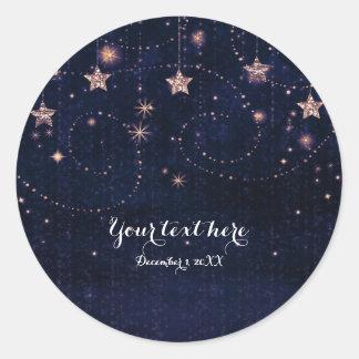 Sticker Rond Pourpre et faveur céleste d'étoiles de nuit