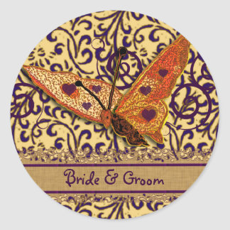 Sticker Rond Pourpre et orange de remous de papillons
