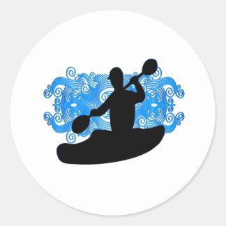 Sticker Rond Précipitation de kayak