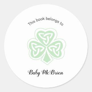 Sticker Rond Premier ex-libris de la bibliothèque du bébé