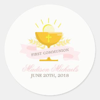 Sticker Rond Première sainte communion de filles