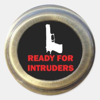 Sticker Rond Préparez pour le degré de sécurité d'arme à feu