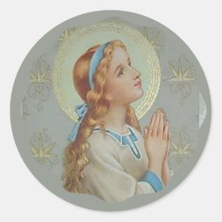 Sticker Rond Prière de Mary de mère bénie par jeunes