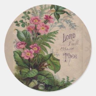 Sticker Rond Prière florale vintage je suivrai Thee