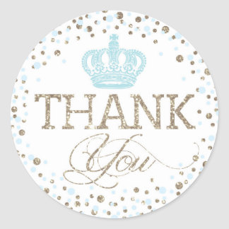 Sticker Rond Prince royal baby shower de couronne bleue