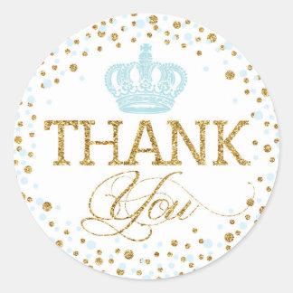 Sticker Rond Prince royal baby shower de couronne bleue de