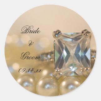 Sticker Rond Princesse bague à diamant et épouser blanc de