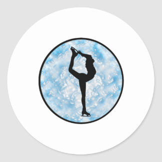 Sticker Rond Princesse de patinage de glace