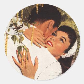 Sticker Rond Proposition vintage de mariage, histoires d'amour