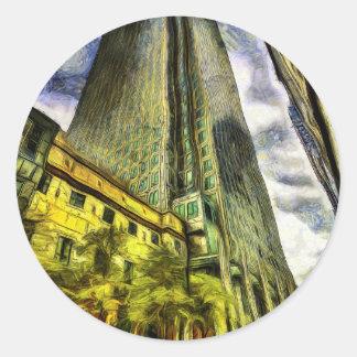 Sticker Rond Quai jaune canari Londres Van Gogh