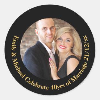 Sticker Rond quarantième Marbre d'or de noir d'anniversaire de