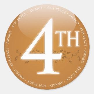 Sticker Rond Quatrième 4ème) récompense d'endroit (
