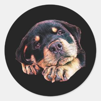 Sticker Rond Race allemande canine de chien de Rott d'amour de