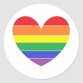 Sticker Rond Rainbow Heart