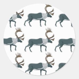 Sticker Rond Rangées de caribou