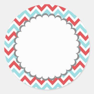 Sticker Rond Rayures colorées de Chevron