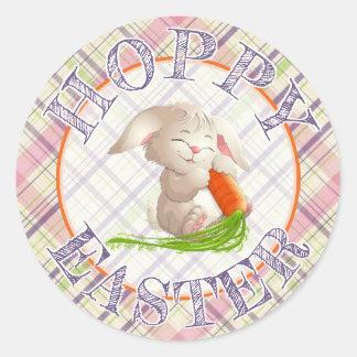 Sticker Rond Rayures de lapin de Pâques et motif heureux de