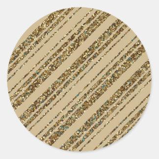 Sticker Rond Rayures diagonales de scintillement d'or sur l'or