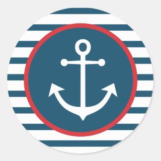 Sticker Rond Rayures nautiques de bleu marine et de blanc