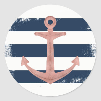 Sticker Rond Rayures nautiques de marine d'ancre rose d'or