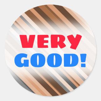 Sticker Rond Rayures rustiques et terreuses de Brown, beiges et