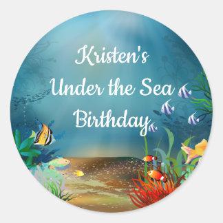 Sticker Rond Récif d'océan sous la fête d'anniversaire de mer