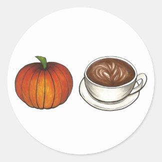 Sticker Rond Récolte d'automne d'automne de Latte de tasse de