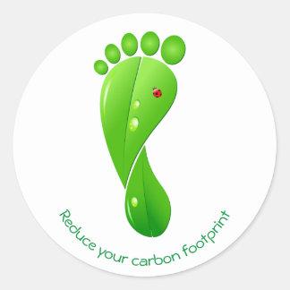 Sticker Rond Réduisez votre vert d'empreinte de pas de carbone