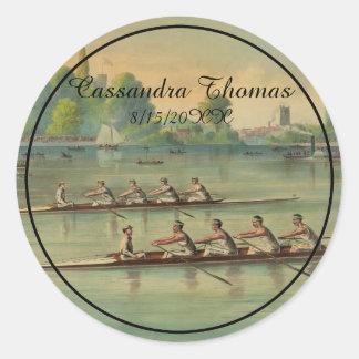 Sticker Rond Régate vintage de course d'équipage de rameurs