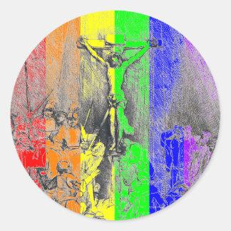 Sticker Rond Rembrandt 1653 croix du détail trois