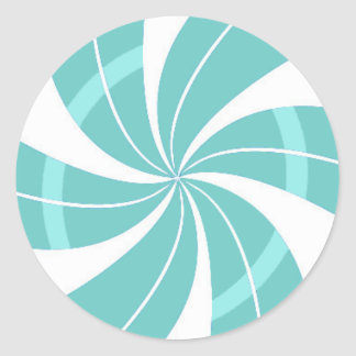 Sticker Rond Remous bleu-clair et blanc de sucrerie, sucrerie