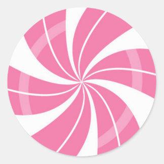 Sticker Rond Remous rose et blanc de sucrerie, sucrerie de