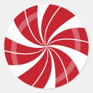 Sticker Rond Remous rouge et blanc de sucrerie, sucrerie de