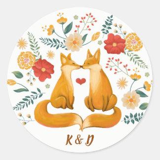 Sticker Rond Renards romantiques et mariage floral rustique de