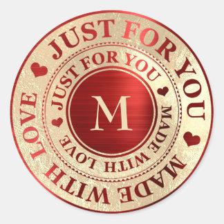 Sticker Rond Rendu avec de l'or rouge de monogramme d'amour