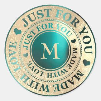 Sticker Rond Rendu avec de l'or Teal de monogramme d'amour