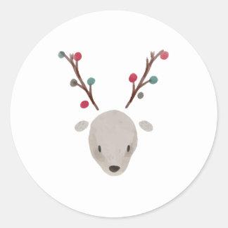 Sticker Rond Renne adorable mignon de cerfs communs d'aquarelle