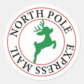 Sticker Rond Renne de courrier express de Pôle Nord