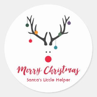 Sticker Rond Renne drôle moderne de l'aide de Père Noël sur le