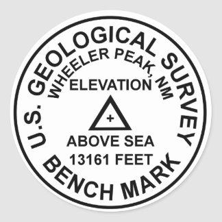 Sticker Rond Repère de style de Wheeler Peak USGS
