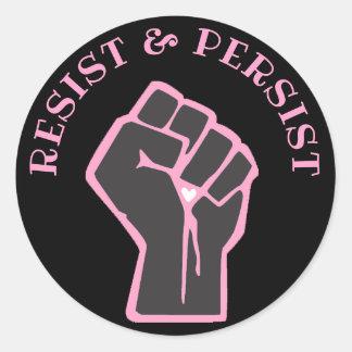 Sticker Rond Résistez et persistez anti atout de poing rose et