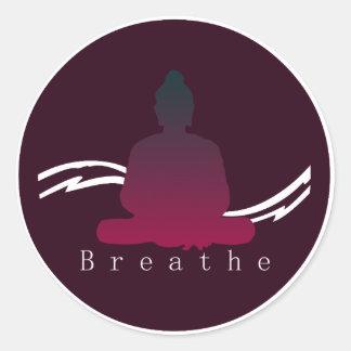"Sticker Rond ""Respirez"" beau Bouddha"