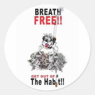 Sticker Rond Respirez librement - CESSEZ le TABAGISME
